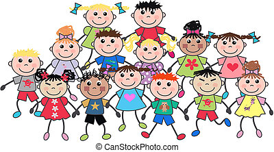 happy children - a crowd of ethnic mixed happy children