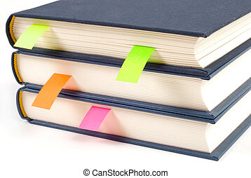Books with bookmarks isolated on white background - Books...