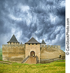 The ancient castle in the town Khotyn (Ukraine). National...
