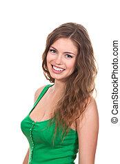 Teenage girl - attractive teenage girl wear green shirt,...
