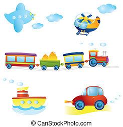 Set of types of transportat. Vector illustration.