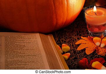 Spiritual Thanksgiving - Bible open for religious...