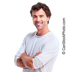Young man - Smiling handsome man Isolated over white...