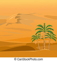 vector of a desert landscape with the palm trees - three...