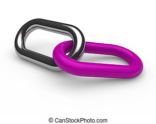 3d purple chrome chain connection security link