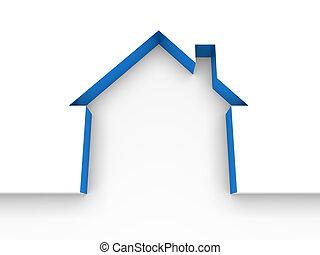 3d house estate blue model home white