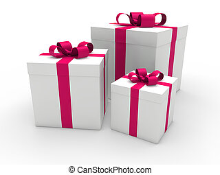 3d gift box pink white