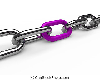3d chain chrome purple steel teamwork connection