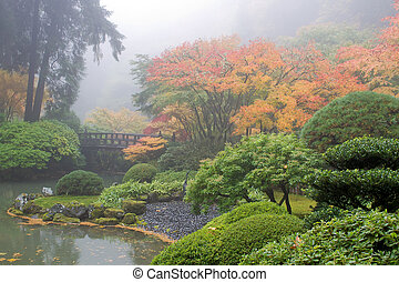 Foggy Morning at Japanese Garden by the Pond