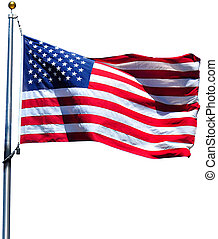 American Flag - American flag waving in the wind, isolated