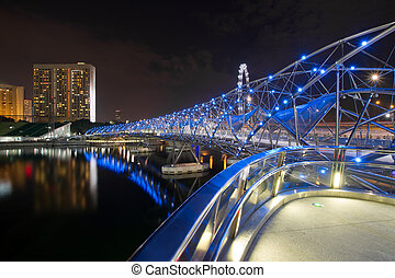 Double Helix Bridge in Singapore at Night - Double Helix...