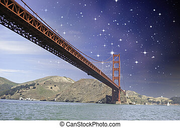 Night over Golden Gate Bridge in San Francisco, USA