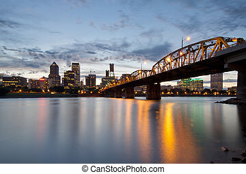 Portland Skyline and Hawthorne Bridge at Sunset - Portland...
