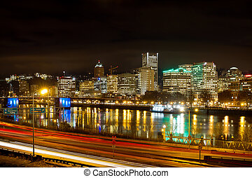 Portland Oregon Waterfront Skyline at Night