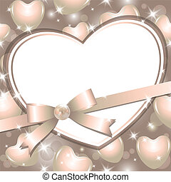 frame with heart - gentle frame with heart, pearl and bow
