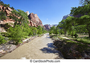 Muddy river in the Zion Canyon National Park, Utah