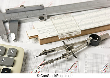 engineering tools on technical drawing