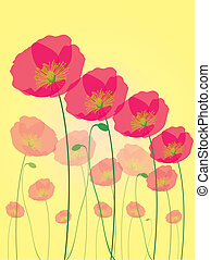 Row of poppy flowers isolated on yellow background