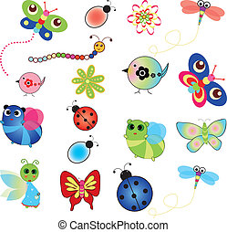 bird insect and flowers - Colorful set of spring animal...