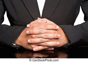 Business Woman - Business woman waiting with fingers crossed