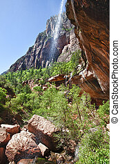 Waterfall in the Zion Canyon National Park, Utah