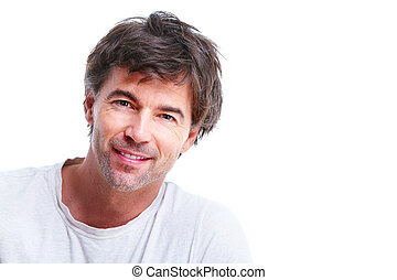 Man. - Handsome smiling man. Isolated over white background.