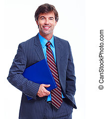 Business man. - Smiling business man. Isolated over white...