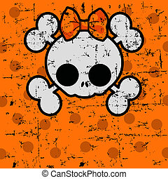 Cute Halloween Skull with bow