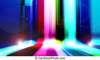 Bars Multicolor With Flares Loop - Looping multicolor bars...