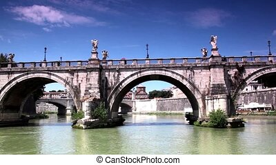 Sant Angelo Bridge at summer, camera moves down the river...