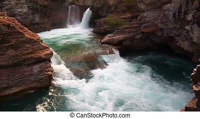Saint Mary Falls - Glacier NP - Rushing waters of Saint Mary...