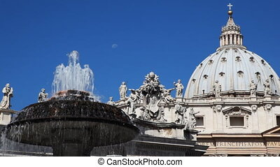 Fountain and Dome St. Peters Basilica in Vatican - fountain...