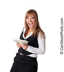 Attractive young business woman happy with money - young...
