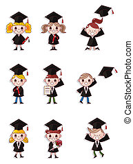 Cartoon Graduate students icons set