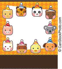 cartoon party animal head card