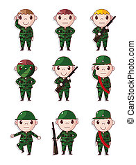 cartoon Soldier icons set
