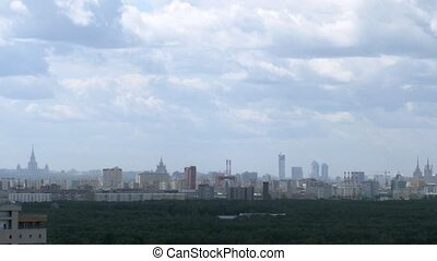 Panorama of Moscow on cloudy day, view from roof, time lapse