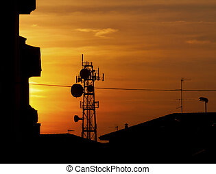 Antenna - Silhouette of big communication antenna in a...