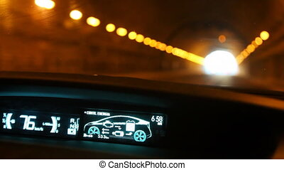 Driving through tunnel in hybrid car Toyota Prius - ROME -...