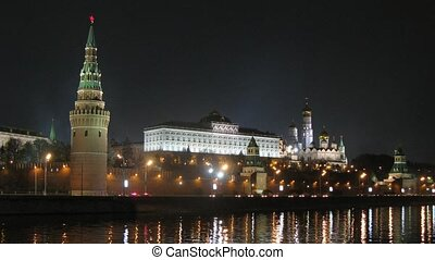 Victory Day Parade training near Kremlin at night, zoom in,...