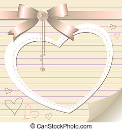 romantic frame with pearl and bow on old paper page