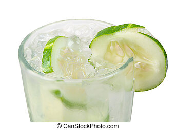 cucumber cocktail closeup isolated on white background