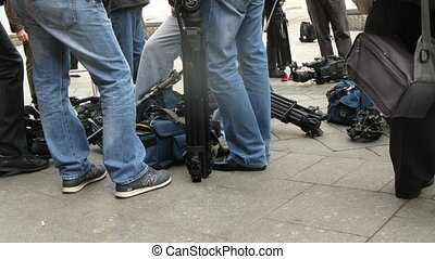 TV channel cameramen wait for van Buuren arrival at RUSSIA...