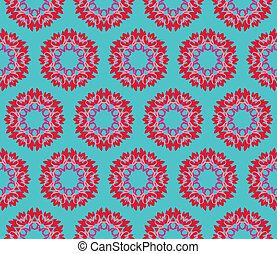 Seamless pattern with flowers in pink, red and purple