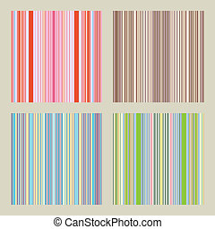 Four seamless patterns with retro stripes in soft and warm...