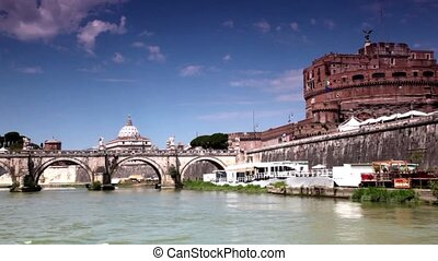 Sant Angelo Bridge and Sant Angelo Castel, view in motion from river