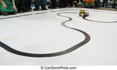 Robots drive along path during ROBOFEST-2011 - MOSCOW - APR...