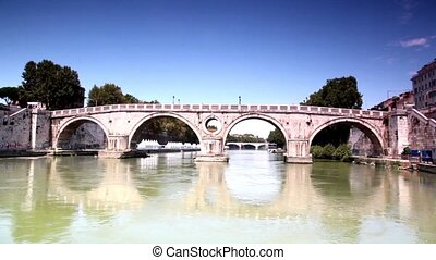 Ponte Sisto closer at sunny day, camera moves down the river