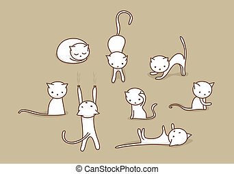 White cat set - Cute white doodle cats in various positions