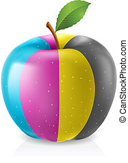 Delicious CMYK apple Illustration on white background